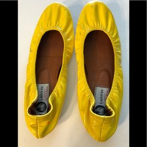 Lanvin Paris Patent Leather Yellow Flat